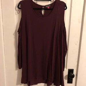 High low maroon shirt